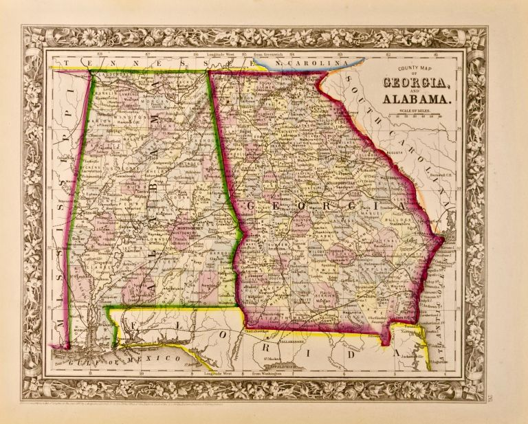 County Map of Georgia and Alabama. S. Augustus Mitchell, Jr.