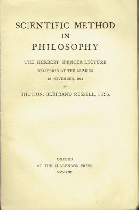 Scientific Method In Philosophy : The Herbert Spencer Lecture Delivered at the Museum 18...