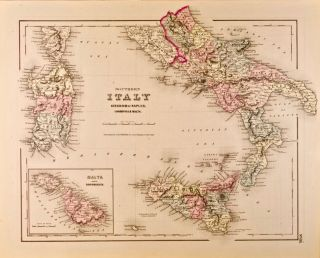 Southern Italy, Kingdom of Naples, [Islands of] Sardinia & Malta [Map of]. J. H. Colton