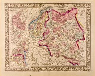 Russia in Europe, Sweden, and Norway [and] Map of Denmark [and] Map of Holland and Belgium [three...